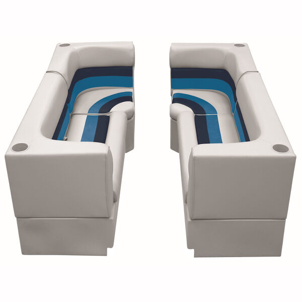 Deluxe Pontoon Furniture w/Toe Kick Base - Party Pit Package, Gray/Navy/Blue