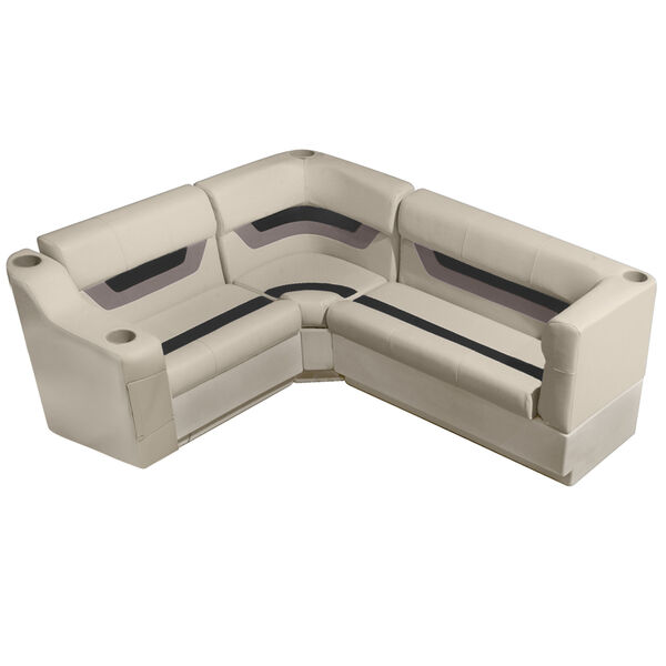 "Designer Pontoon Furniture - 61"" Rear Seat Package, Platinum/Black/Mocha"