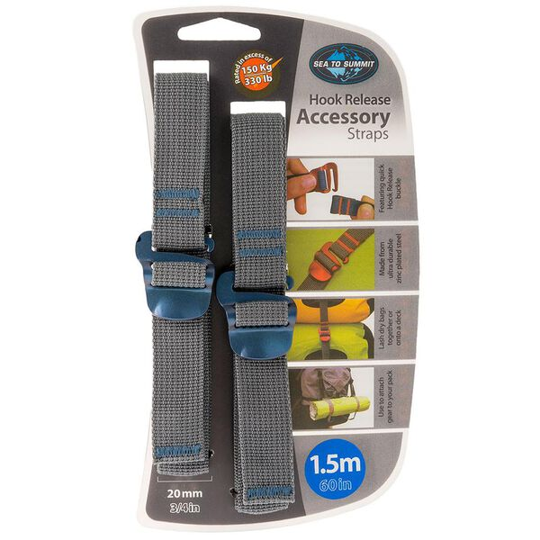 "Sea To Summit Accessory Straps With Hook Release; 20mm x 3/8"" x 60"""