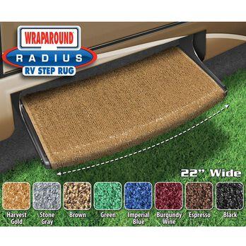 "Prest-O-Fit Wraparound Radius RV Step Rug, 22"", Harvest Gold"