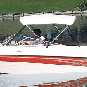 """Shademate Bimini Top White Vinyl Fabric/Boot Only, 4-Bow 8'L x 54""""H, 85""""-90""""W"""