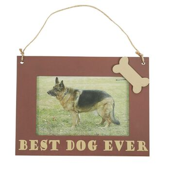 """Pet Picture Frame, Hanging, 6"""" x 8"""", Brown Best Dog Ever"""