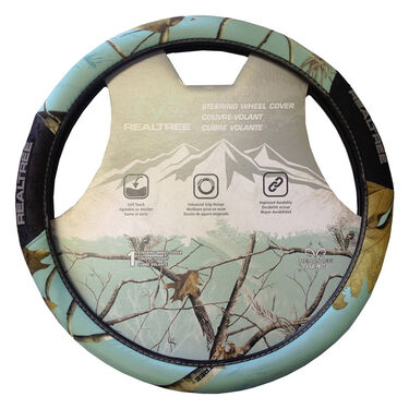 Realtree Two-Grip Steering Wheel Cover, AP Cool Mint Camo