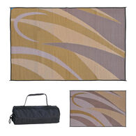 Reversible Graphic Design RV Patio Mat, 8' x 16', Brown/Gold