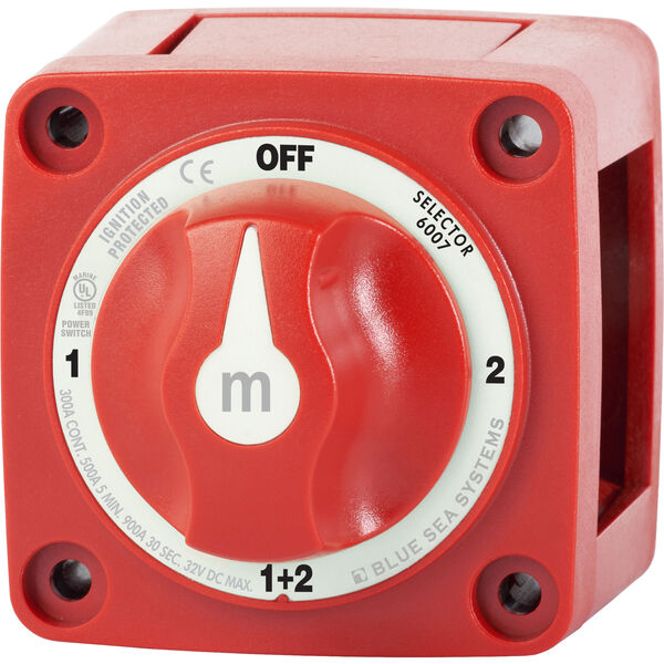 Blue Sea m-Series Mini Selector Battery Switch - Red