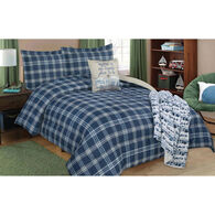 "Navy Plaid Short Queen/Queen Comforter and Sham 3-piece Set, 86"" x 86"""