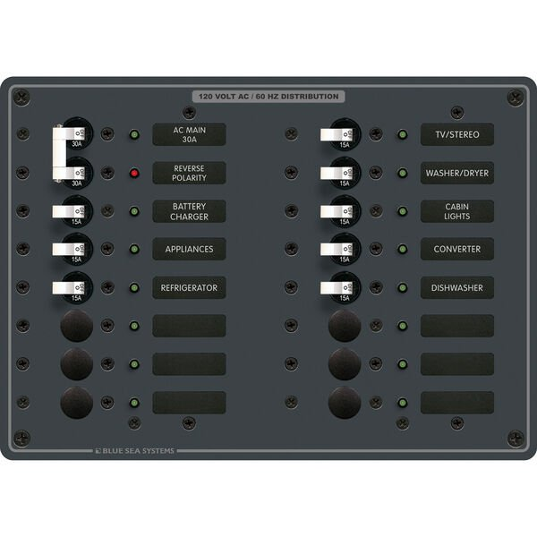 Blue Sea Systems AC Main +14 Positions Panel