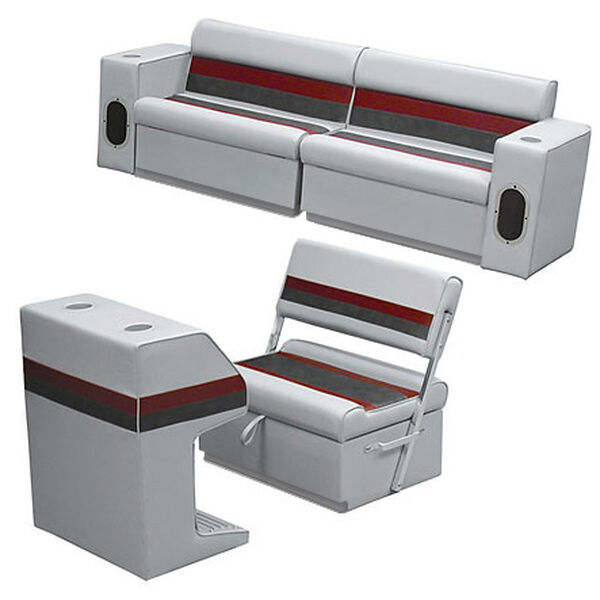 Deluxe Pontoon Furniture w/Toe Kick Base - Rear Group 7 Package, Gray/Red/Charco