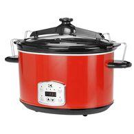 Kalorik 8 Qt Digital Slow Cooker with Locking Lid, Red