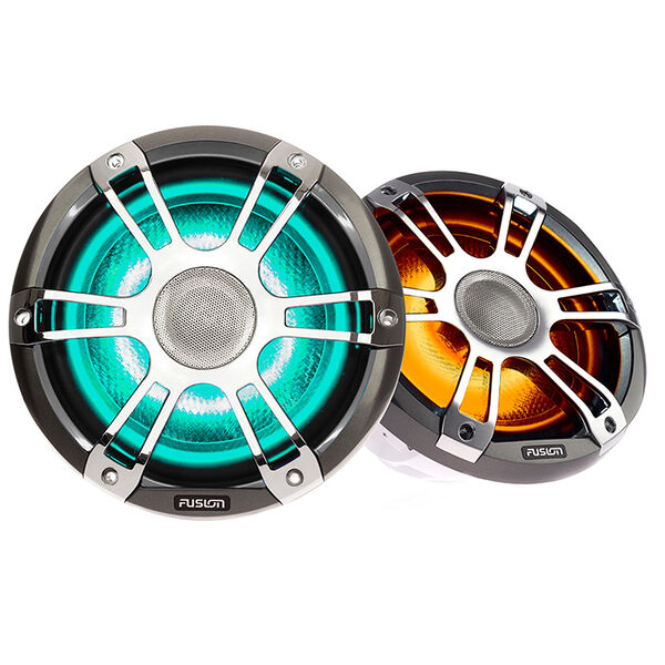"""FUSION Signature Series 3 - 7.7"""" Speakers - Silver/Chrome Sports Grille"""