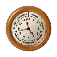 DayClocks™ Combination Day-of-the-Week Wall Clock, Pine