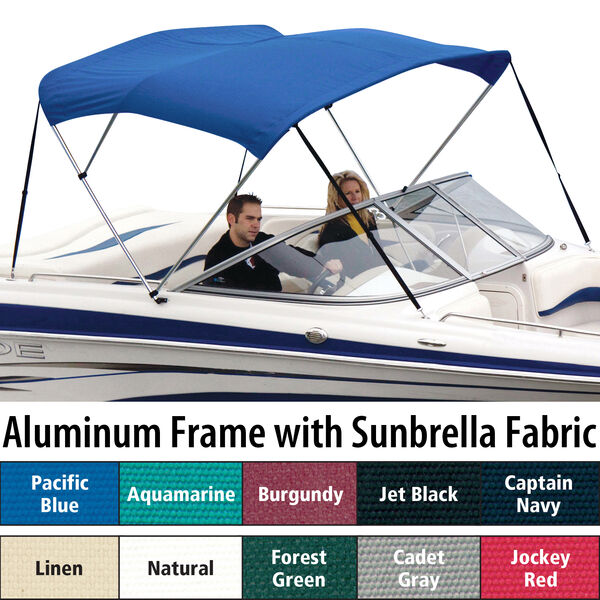 """Shademate Sunbrella 3-Bow Bimini Top, 6'L x 36""""H, 85""""-90"""" Wide"""