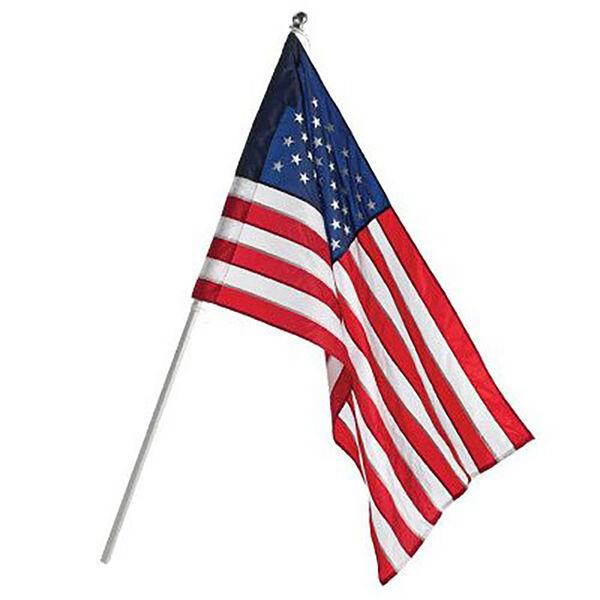 Annin U.S. Flag & Pole Set, Nylon, 2.5' x 4'