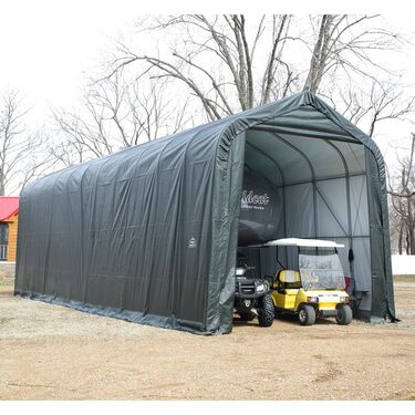 Peak Style Shelter 12 x 24 x 8 Green Cover