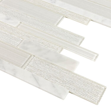 """Peel-and-Stick Mosaic Wall Tile, 12"""" x 16"""", Stone Marble/Glossy Glass"""