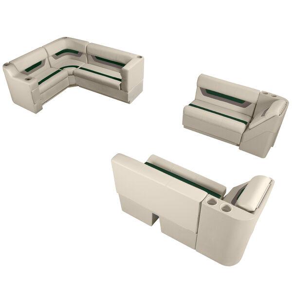 Designer Pontoon Furniture - Complete Boat Package, Platinum/Evergreen/Mocha