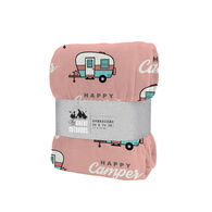 "Happy Camper Oversized Throw, 50"" x 70"", Blush"