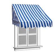 ALEKO 8x2 Blue and White Window Awning Door Canopy 8-Foot Decorator Awning