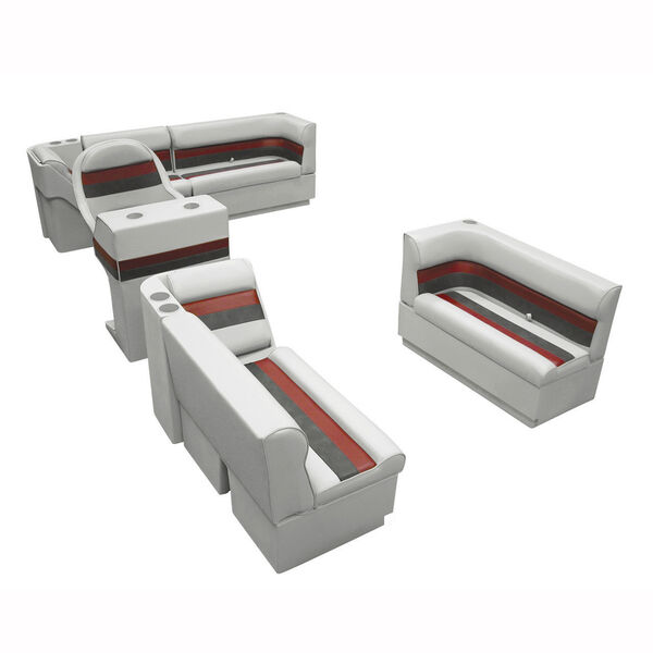 Deluxe Pontoon Seats w/Toe Kick Base, Complete Package A Plus Stand, Gray/Red/Ch