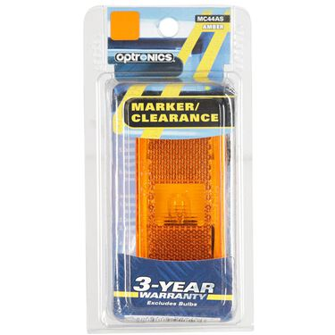 Rectangular Clearance/Marker Light; white base; two wire; amber