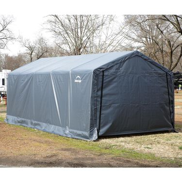 Peak Style Shelter 12 x 24 x 8 Gray Cover
