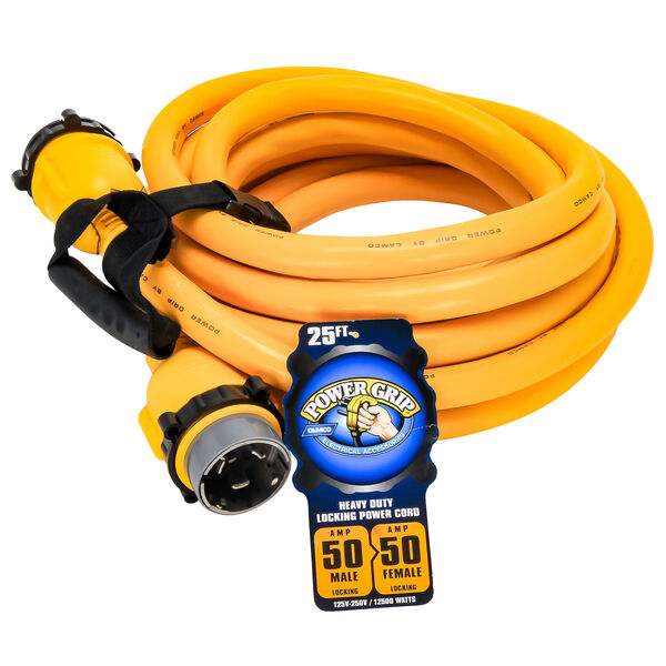 Camco PowerGrip 25' Marine Extension Cord With Locking Ends, 50 Amps