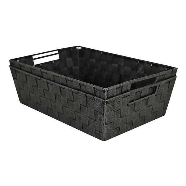 Home Collections Woven Strap Storage Bin, Set of 2, Black