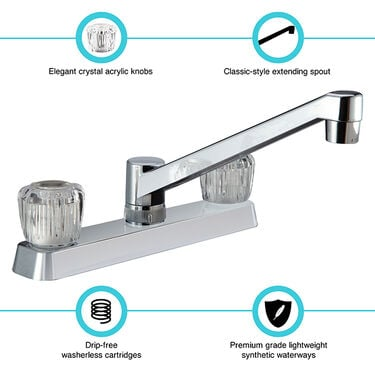Dura Faucet Two Handle RV Kitchen Faucet with Crystal Acrylic Knobs, Chrome Polished