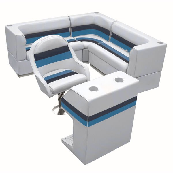 Deluxe Pontoon Furniture w/Toe Kick Base - Rear Group 4 Package, Gray/Navy/Blue