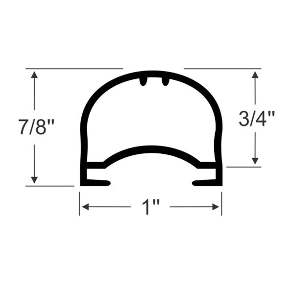 """Steele Rubber Products 7/8"""" Bulb Seal with Domed Channel, 15' long"""