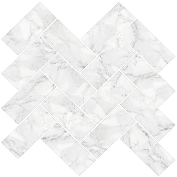 InHome Herringbone Carrara Marble Peel-and-Stick Backsplash