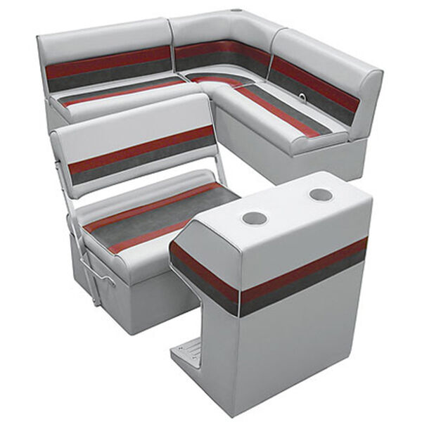 Deluxe Pontoon Furniture w/Classic Base - Rear Group Package E, Gray/Red/Charcoa