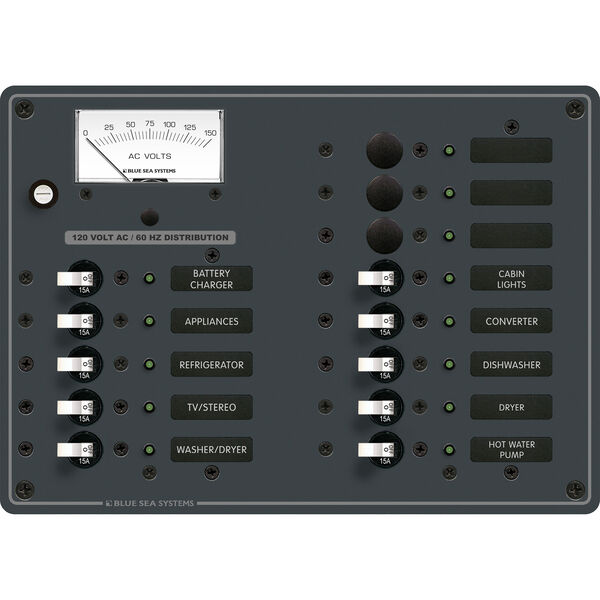 Blue Sea Systems 120V AC 13 Position Panel