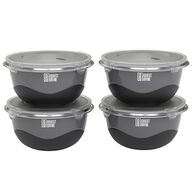 Robert Irvine 8-Piece Microwave-Safe Prep Bowl and Lid Set, Black