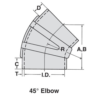 """Sierra 3-1/2"""" EPDM 45° Elbow With Clamps"""