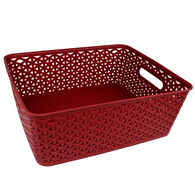 Home Collections Shelf-Size Storage Bin with Cutout Handles, Brick Red