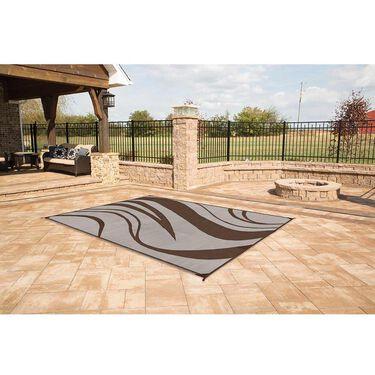 Reversible Wave Design Patio Mat, 6' x 9', Brown