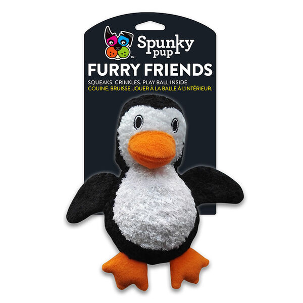 Spunky Pup Furry Friends Penguin with Squeaky Ball Inside
