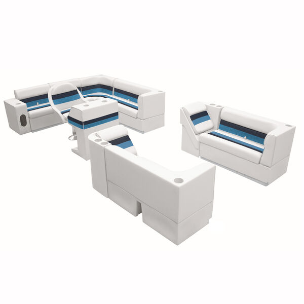 "Deluxe Pontoon Furniture w/Toe Kick Base, Complete Big ""L"" Package, White/Navy/B"