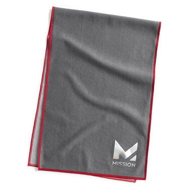 Mission HydroActive Max Large Cooling Towel, Charcoal/Tango Red