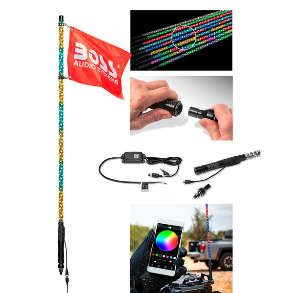 """Boss Audio XP4 48"""" RGB LED Wrapped Whip"""