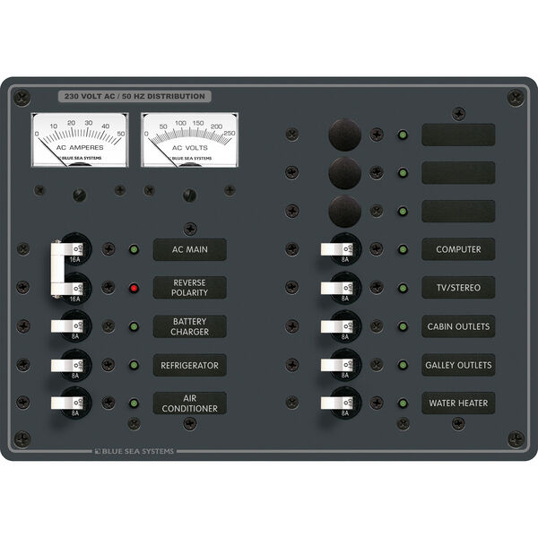 Blue Sea Systems Panel, 230V AC (European) AC Main + 11 Positions & Micro Meters