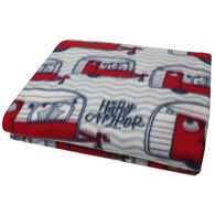 Happy Camper Polar Fleece Throw, Red