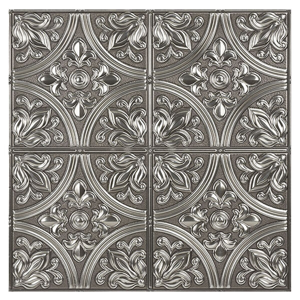 InHome Chelsea Silver Faux Metallic Peel-and-Stick Tiles