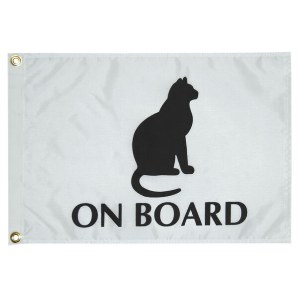 Cat On Board Boat Flag