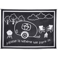 "Reversible ""Home Is Where We Park It"" RV Patio Mat, 8' x 11', Black/White"