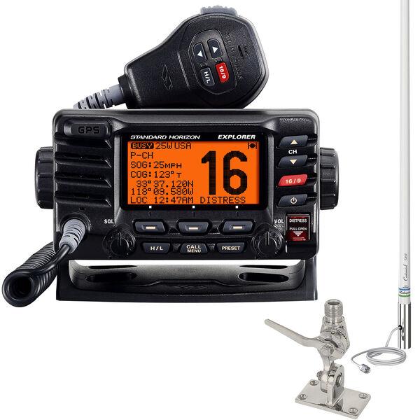 Standard Horizon Explorer GPS GX1700 VHF Radio Package Black w/Antenna, SS Mount
