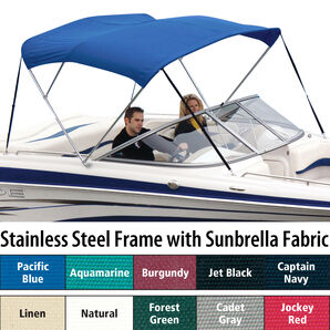 Shademate Sunbrella Stainless 3-Bow Bimini Top 5'L x 32''H 54''-60'' Wide