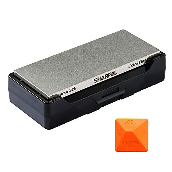 Sharpal Dual-Grit Diamond Whetstone with Storage Base
