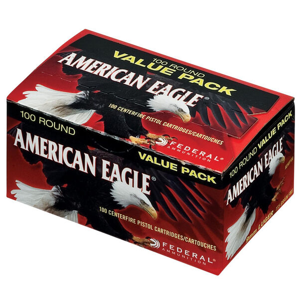 American Eagle Handgun Ammo 100-Round Value Pack, 9mm Luger, 115-gr., FMJ